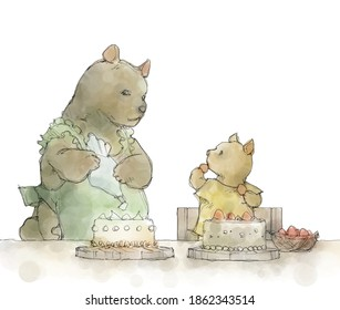 mother and child of bear making cakes