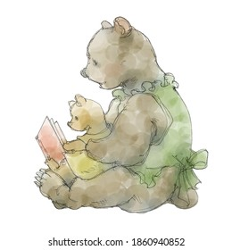 mother and child of bear reading a picture book