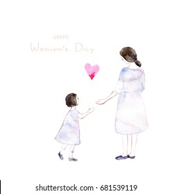 Mother and daughter holding hands.Mother's day greeting card.