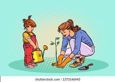 mother and daughter working in the garden, planting a seedling. Pop art retro  illustration vintage kitsch