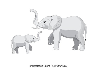 mother elephant takes care of her young