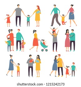 Mother father and childrens. Illustrations of happy family. Pictures of lifestyle. family father and mother, boy and girl