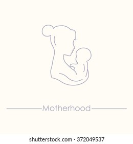 Mother is holding baby. Woman with a baby. Silhouette of a woman with a baby illustration. Pregnancy and childbirth. Mom and baby icon.