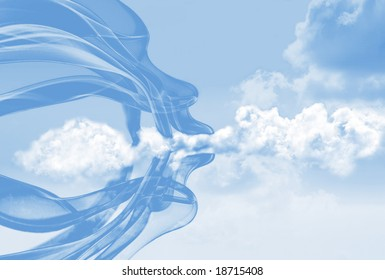 Mother Nature with gossamer smoke trails  forming the profile of a Head blowing the clouds. Some light noise in parts.