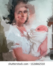 Mother and newborn. Abstract painting.