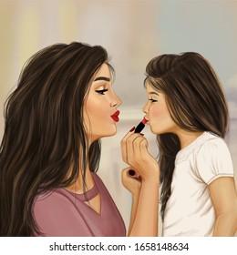 mother puts makeup to her daughter