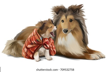 Mother and son sheltie watercolor painting