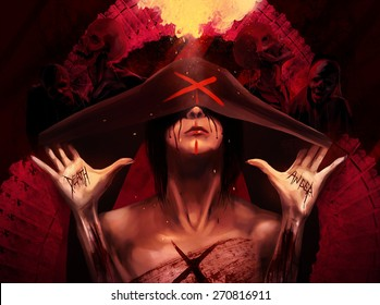Mother of war. Fantasy horror woman in black hood with scars and wounds on her hands with skeleton zombie creatures and fire background art illustration.