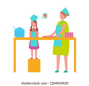 Mother and young daughter in toque blanches and aprons cooking isolated  illustration. Loving parent and teenage child preparing food together