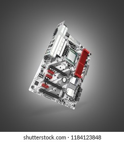 Motherboard with realistic chips and slots isolated on black gradient background 3d render