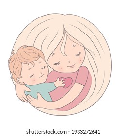mother's day congratulation, mother and child hugging, blondes, isolated illustration on print