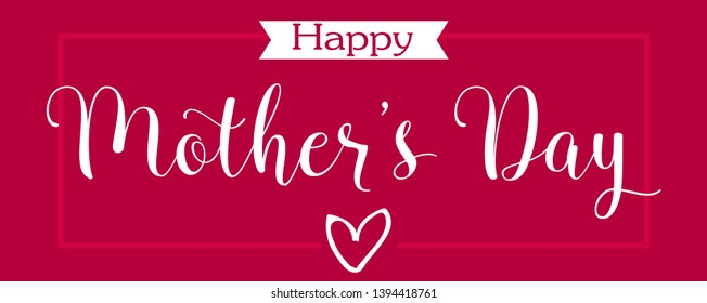 mothers day greeting card. happy mother s day elegant calligraphy banner lettering vector text and heart in frame background.