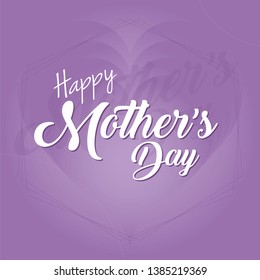 Mother's day greeting card with hearts background. Purple color tones gradient background