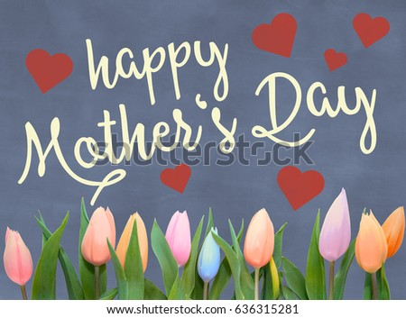 mothers day greeting card with words happy mothers day on blackboard slate background with hearts and