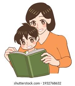 子どもと共に本を見て教える母親