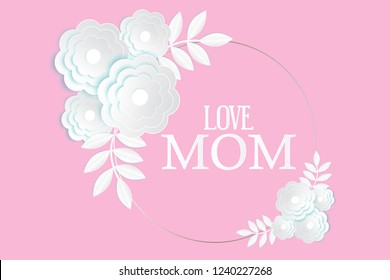 Mothers's Day greeting card with abstract white 3d flowers on pink background illustration