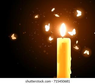 Moths near a candle
