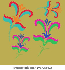 Motif colored floral. Hand drawn.