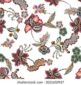motif ethnic colorful flowers and leaves seamless pattern fabric texture repeated. floral and leaves with branch and plants. decorative ornament leaf leaves. white background.