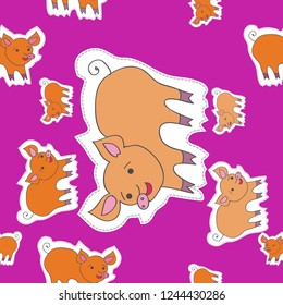 Motif with pigs, dashed lines, labels seamless pattern. Hand drawn.
