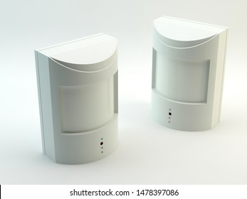 Motion detectors, alarm - isolated on white, 3D illustration