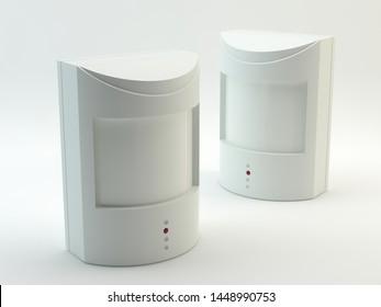 Motion detectors, white background - 3d illustration