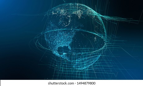 Motion Particle Earth Digital Globe Cyber Concept. Planet Network Data Abstract World Map Business Background. Universe Connection Landscape Scenery Outer Space Exploration 3D Rendering Animation