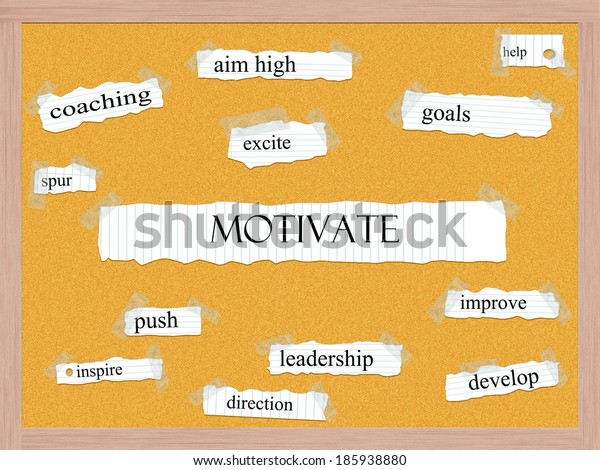Motivate Corkboard Word Concept with great terms such as aim high, goals, push and more.