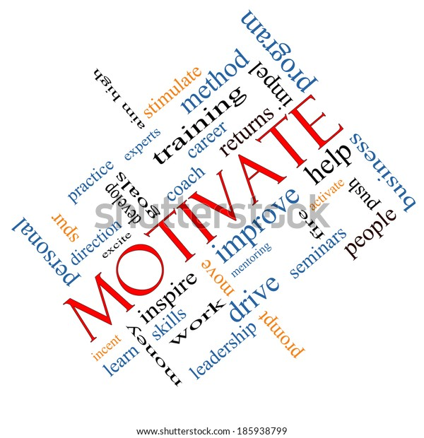 Motivate Word Cloud Concept angled with great terms such as improve, goals, inspire and more.