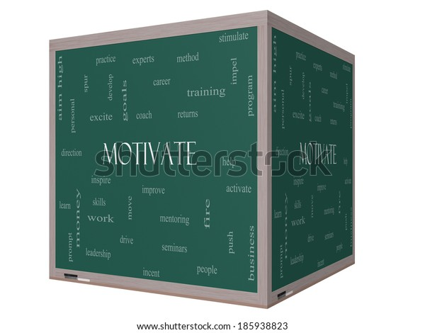 Motivate Word Cloud Concept on a 3D cube Blackboard with great terms such as improve, goals, inspire and more.