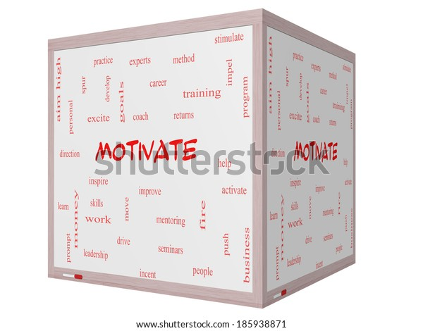 Motivate Word Cloud Concept on a 3D cube Whiteboard with great terms such as improve, goals, inspire and more.