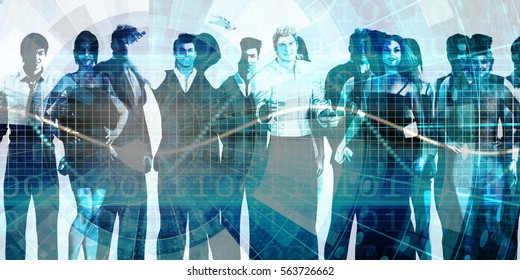 Motivated Workforce and Staff Employees Smiling Art 3D Illustration Render