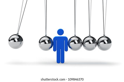 Motivation, business strategy, teamwork and success concept: blue human figure within Newton's cradle isolated on white background