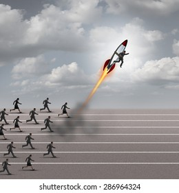 Motivation concept and career boost as a group of business people running on a track with a businessman on a rocket ship breaking away from the competition as a success metaphor for a game changer.