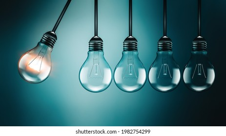 Motivation concept image with light bulbs, perpetual Motion concept, an analogy with Newton's cradle, realistic 3D image