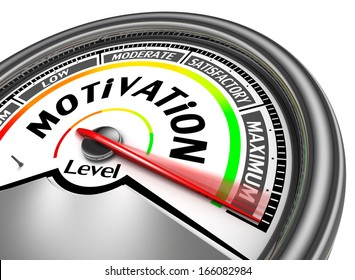 motivation conceptual meter indicate maximum, isolated on white background