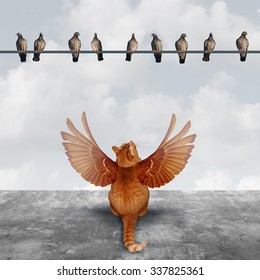Motivation and imagination concept as an ambitious cat with imaginary wings looking up at a group of birds as an aspiration  metaphor for planning creative solutions and setting goals for success.