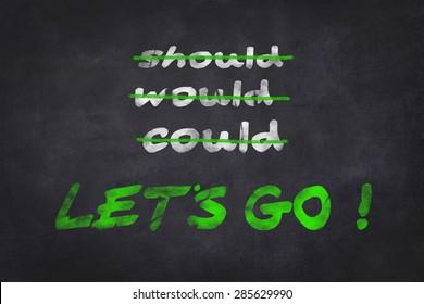Motivation text on chalk board / chalkboard