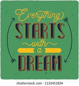 Motivational poster. Inspirational quote design. Raster copy.
