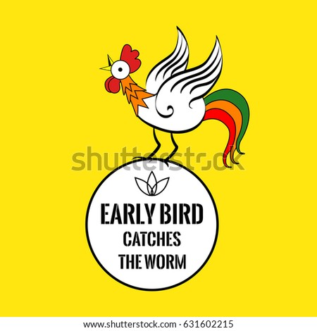 Motivational Quote Cock Early Bird Catches Stock Illustration
