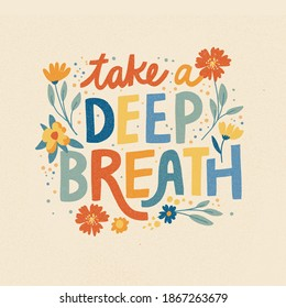Motivational Relaxing Calm Mental Health Lettering Quote