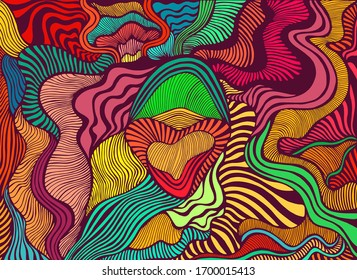 Motley abstract lines art pattern, rainbow multicolor color. Decorative psychedelic stylish card. Raster artistic illustration. Doodles wave background.