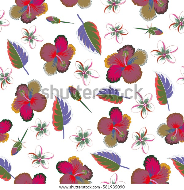 Motley seamless pattern on a white background. Multicolor abstract flower background. Pretty multicolored floral print.