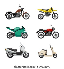 Moto vehicles icons. Motorcycles and scooters in flat style.