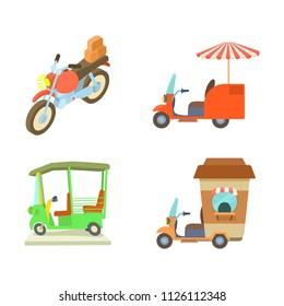 Motobike icon set. Cartoon set of motobike icons for web design isolated on white background
