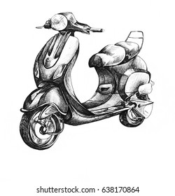 Motobike scooter ink drawing