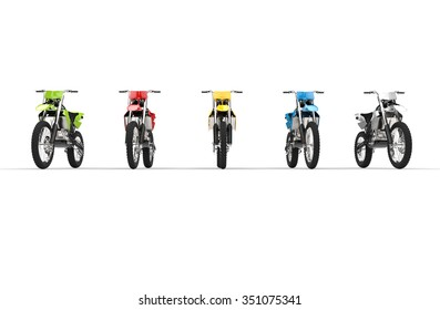 Motocross bikes isolated on white background - front view