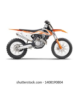 Motocross Motorcycle Isolated on White Background. Side View of Modern Orange Appeal and White Supercross Off-Road Dirt Bike. 3D Rendering