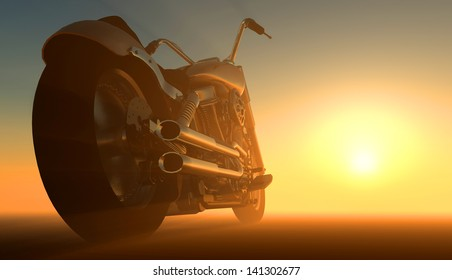 Motor cycle on an orange background.