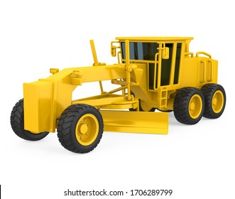 Motor Grader Isolated. 3D rendering